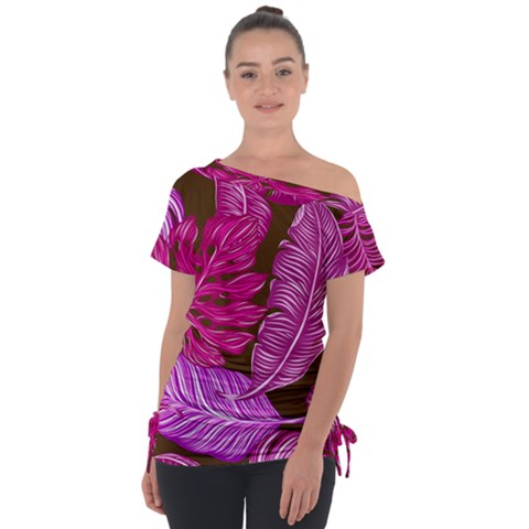 Tropical Pink Leaves Tie-up Tee by snowwhitegirl