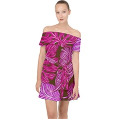 Tropical Pink Leaves Off Shoulder Chiffon Dress