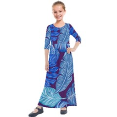 Tropical Blue Leaves Kids  Quarter Sleeve Maxi Dress by snowwhitegirl