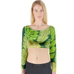 Tropical Green Leaves Long Sleeve Crop Top by snowwhitegirl