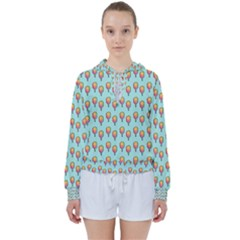 Cotton Candy Pattern Aqua 3d Women s Tie Up Sweat by snowwhitegirl