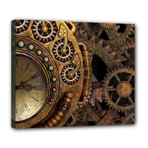 Steampunk Clock Deluxe Canvas 24  X 20  (stretched) by snowwhitegirl