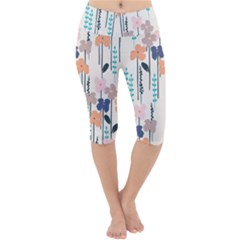 Fancy Floral Pattern Lightweight Velour Cropped Yoga Leggings by tarastyle