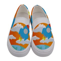 Rocket Rocket Ship Rocket Fire Women s Canvas Slip Ons