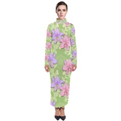 Lily Flowers Green Plant Natural Turtleneck Maxi Dress by Pakrebo