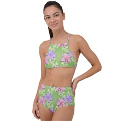 Lily Flowers Green Plant Natural High Waist Tankini Set
