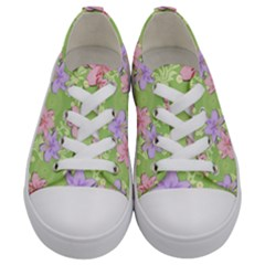 Lily Flowers Green Plant Natural Kids  Low Top Canvas Sneakers
