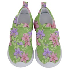 Lily Flowers Green Plant Natural Kids  Velcro No Lace Shoes by Pakrebo