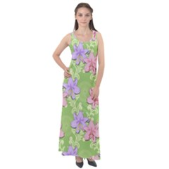 Lily Flowers Green Plant Natural Sleeveless Velour Maxi Dress
