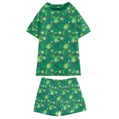 4 Leaf Clover Star Glitter Seamless Kids  Swim Tee And Shorts Set