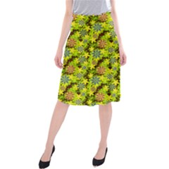 Flowers Yellow Red Blue Seamless Midi Beach Skirt
