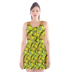 Flowers Yellow Red Blue Seamless Scoop Neck Skater Dress