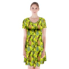 Flowers Yellow Red Blue Seamless Short Sleeve V Neck Flare Dress
