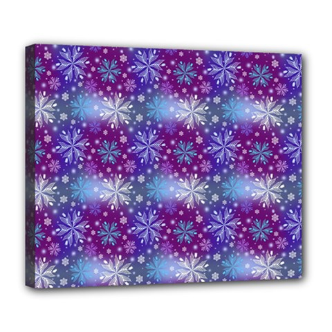 Snow White Blue Purple Tulip Deluxe Canvas 24  X 20  (stretched) by Pakrebo