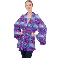 Snow White Blue Purple Tulip Velvet Kimono Robe
