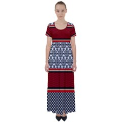 Background Damask Red Black High Waist Short Sleeve Maxi Dress