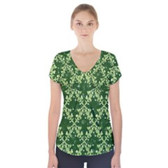 White Flowers Green Damask Short Sleeve Front Detail Top