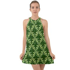 White Flowers Green Damask Halter Tie Back Chiffon Dress