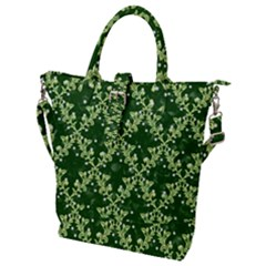 White Flowers Green Damask Buckle Top Tote Bag