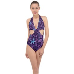 Stamping Pattern Leaves Drawing Halter Front Plunge Swimsuit