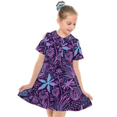 Stamping Pattern Leaves Drawing Kids  Short Sleeve Shirt Dress