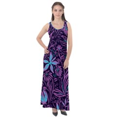 Stamping Pattern Leaves Drawing Sleeveless Velour Maxi Dress