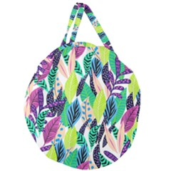 Leaves Drawing Pattern Nature Giant Round Zipper Tote