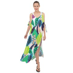 Leaves Drawing Pattern Nature Maxi Chiffon Cover Up Dress