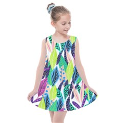 Leaves Drawing Pattern Nature Kids  Summer Dress