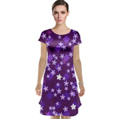 Textile Cross Pattern Square Cap Sleeve Nightdress