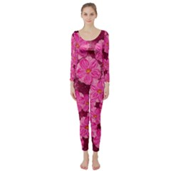Cherry Blossoms Floral Design Long Sleeve Catsuit