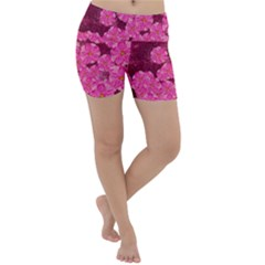 Cherry Blossoms Floral Design Lightweight Velour Yoga Shorts
