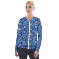 Floral Design Asia Seamless Pattern Velour Zip Up Jacket by Pakrebo