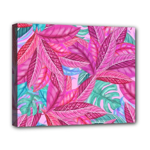 Leaves Tropical Reason Stamping Deluxe Canvas 20  X 16  (stretched) by Pakrebo