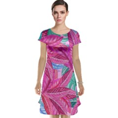 Leaves Tropical Reason Stamping Cap Sleeve Nightdress