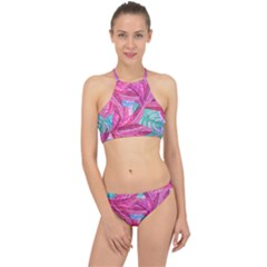 Leaves Tropical Reason Stamping Racer Front Bikini Set