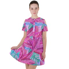 Leaves Tropical Reason Stamping Short Sleeve Shoulder Cut Out Dress