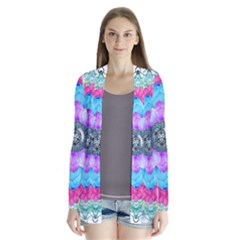 Lotus Flower Bird Metatron s Cube Drape Collar Cardigan by Pakrebo