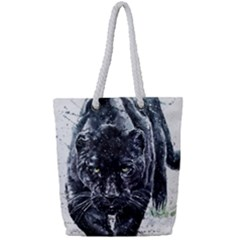 Panther Full Print Rope Handle Tote (small) by kot737