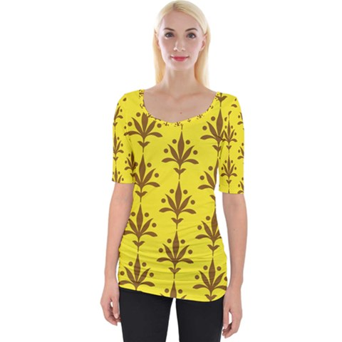 Fancy Floral Pattern Wide Neckline Tee by tarastyle