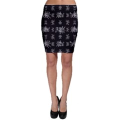 Black And White Ethnic Design Print Bodycon Skirt by dflcprintsclothing