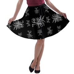 Black And White Ethnic Design Print A-line Skater Skirt by dflcprintsclothing