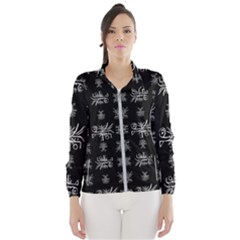 Black And White Ethnic Design Print Women s Windbreaker by dflcprintsclothing
