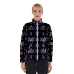 Black And White Ethnic Design Print Winter Jacket by dflcprintsclothing