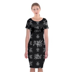 Black And White Ethnic Design Print Classic Short Sleeve Midi Dress by dflcprintsclothing