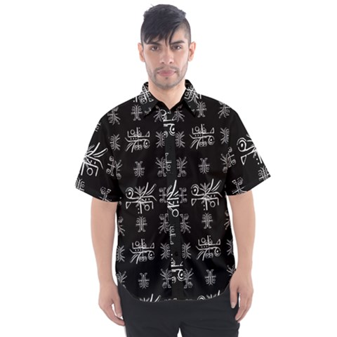 Black And White Ethnic Design Print Men s Short Sleeve Shirt by dflcprintsclothing