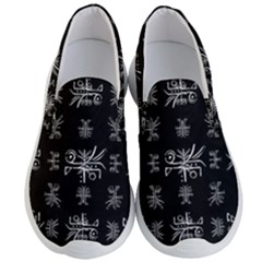 Black And White Ethnic Design Print Men s Lightweight Slip Ons by dflcprintsclothing
