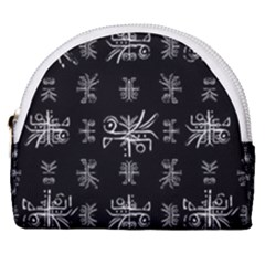 Black And White Ethnic Design Print Horseshoe Style Canvas Pouch by dflcprintsclothing