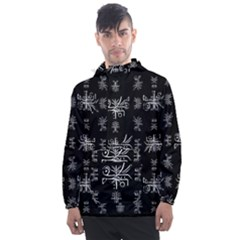Black And White Ethnic Design Print Men s Front Pocket Pullover Windbreaker by dflcprintsclothing