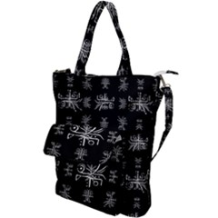 Black And White Ethnic Design Print Shoulder Tote Bag by dflcprintsclothing